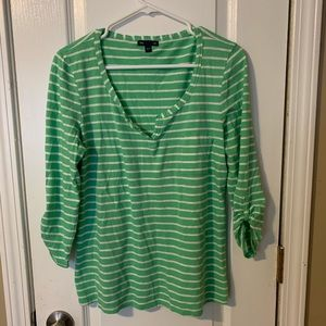 Gap green/white striped top